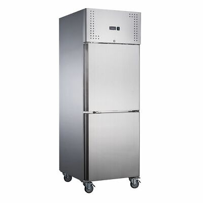Commerial Upright Fridge Stainless Steel 2 split half 1/2 Solid Doors 600L