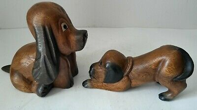Vintage Set of Two Hand Carved Wood Basset Hounds