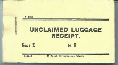 NSW Unclaimed Luggage Receipt Book (100 Unused)