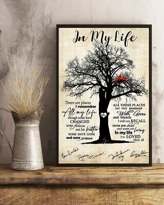 In My Life The Beatles lyrics song member signed gift fan poster (no frame)