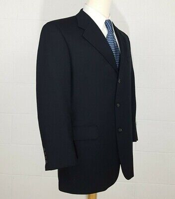 Custom Tailored Tom James Mens 42R Dark Navy Blue Wool Sport Coat Blazer Jacket