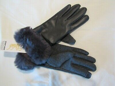 Stylish NWT Womens Gray Leather Gloves~Gray Fur Cuffs~Size S/M  New!  Free Ship!