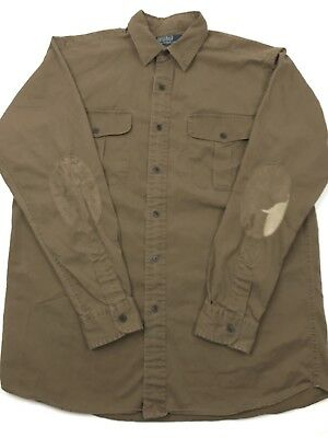 Polo Ralph Lauren Mens Medium Faded Brown L/S Button Up Shirt Elbow Patches (E2)