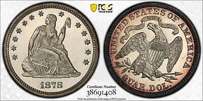 1878-P Seated Liberty Silver Quarter 25C PCGS PR 64 Cameo CAC Type 5, With Motto