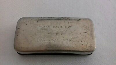 Seltene schwere antike Parke Davis & Co Made in Great Britain Tin Dose