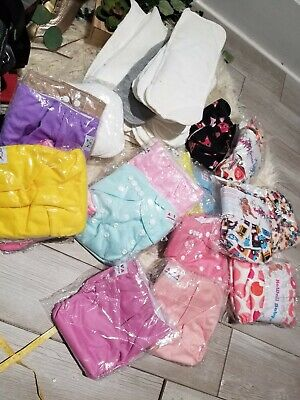 Huge Lot Of Reusable Cloth Baby Diapers And Inserts kawaii baby and alva baby