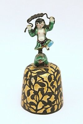 Antique Chinese Copper & Enamel Figural Handle Bell