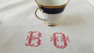 Beautiful Antique French Linen damask hand embroidered tablecloth monogram BO