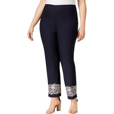 Charter Club Womens Navy Slim Leg Waist Smoothing Pants Plus 18W BHFO 6803