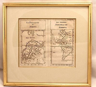 1754 Gabriel Ramirez Map of N. and South America and N.West Europe Framed Rare