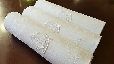 5 Antique French Pure Linen embroidered napkins hand monogrammed CM Art DECO