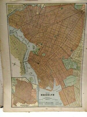 1890'S Fisk Eng. For Peoples Pub. 2 Sided Map Of New York City And  Brooklyn, Ny