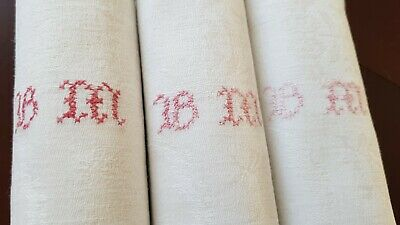 12 Antique French Pure Linen embroidered napkins hand monogrammed BM RED