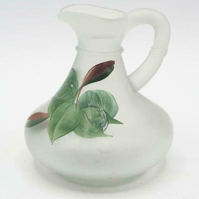 Vibtage Hand Painted Glass Floral Pitcher Small Vase