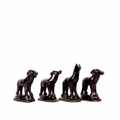 Vintage Old 4 Dog Statues Hand Made Collectibles