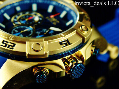 Invicta Men's 52mm SPEEDWAY VIPER Gen III Chronograph Blue Dial Gold Tone Watch