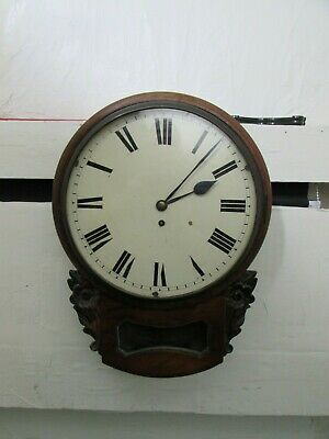 Highly Ornate 19th Century Drop Dial Mahogany Case Single Fusee Wall Clock