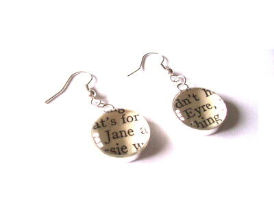 Jane Eyre Book Pieces in Earrings Choice of Metals made by English Gems & Boxed