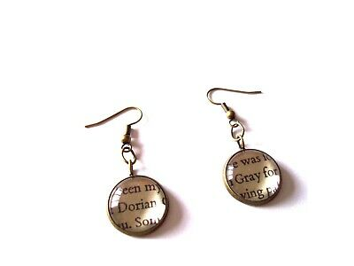 Dorian Gray Book Pieces in Earrings Choice of Metals made by English Gems +Box