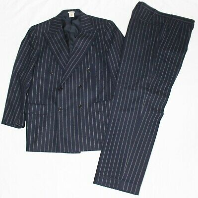 BORRELLI Pinstripe Suit Double Breasted Navy Blue Wool 44 Reg 44R Surgeon Cuffs