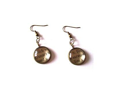 Persuasion Book Pieces in Earrings Choice of Words/Metals made by English Gems