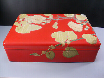 Large Japanese Red Lacquer Box with Inlaid Stone Floral Flower Decoration