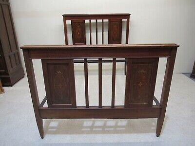 Antique Edwardian Inlaid Mahogany Double Bed Good Colour