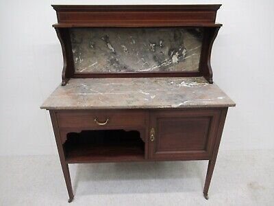Antique Edwardian Inlaid Mahogany Marble Top Washstand With Gallery Back