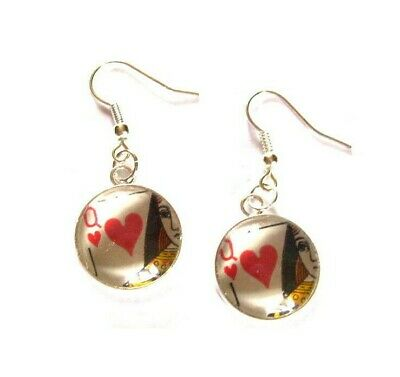 Playing Card Pieces in Earrings Choice of Cards/Metals made by English Gems +Box