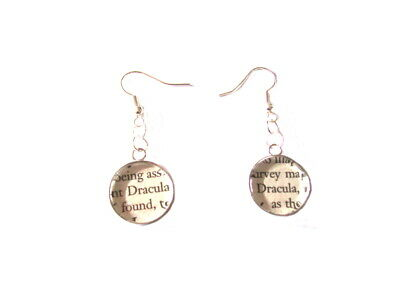 Dracula Book Pieces in Earrings Choice of Metals made by English Gems + Gift Box