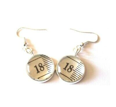 Tape Measure Pieces in Earrings, Choice of Numbers/Metals, made by English Gems