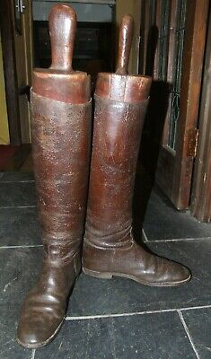 Pair of antique vintage brown leather riding BOOTS & original wooden BOOT TREES