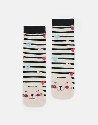 Joules Girls Neat Feet Character Socks - WHITE STRIPE CAT