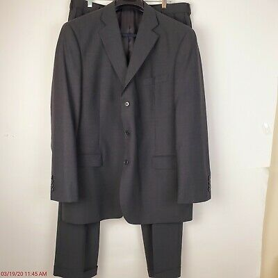 Brooks Brothers 346 Stretch Mens Suit 2 Piece 3 Button Charcoal Gray 46L EUC