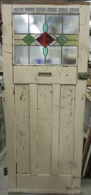 """OLD ENGLISH Stained Glass Door Gorgeous Geometric Band Design 34"""" x 82"""""""