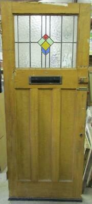 """OLD ENGLISH Stained Glass Door Simple Geometric Design 32"""" x 80"""""""