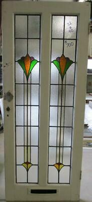 """OLD ENGLISH Stained Glass Door Stunning Double Abstract Tower 32"""" x 80"""""""