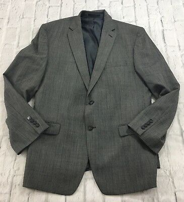 Calvin Klein Mens Jacket Blazer 100% Wool Gray Houndstooth Two Button Size 43R