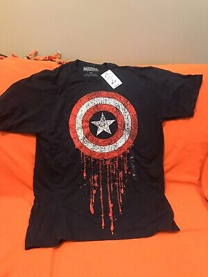 MARVEL Captain America Shield Mens T-shirt, Blue Medium New