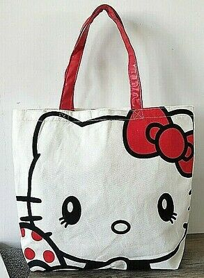 Hello Kitty Canvas Tote Shoulder Bag XL with Red Handle Both Side Prints NEW