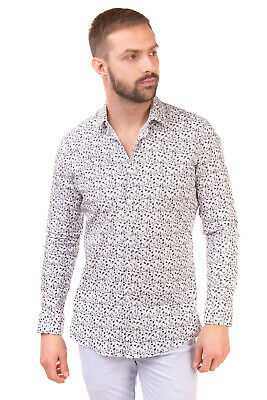 RRP €120 UNGARO Shirt Size 41 / 16 / L Patterned Long Sleeve Slim Made in Italy