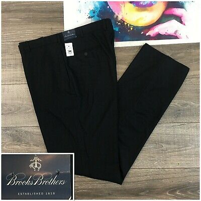Brooks Brothers Dress Pants Dark Gray Flat Front Wool Mens Sz 38L Italy Made New