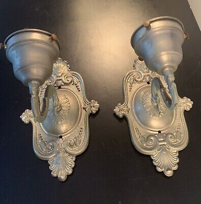 Antique Pair Of Ornate Ghidini Bronze French Sconces Electric Bulb Free Shipping