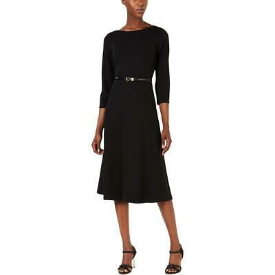 Calvin Klein Womens Black Belted A-Line Mid-Calf Wear to Work Dress 8 BHFO 9170