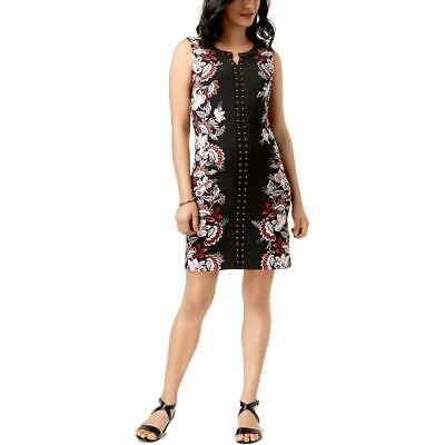 JM Collection Womens Black Floral Studded Party Cocktail Dress L BHFO 4072