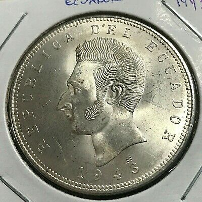1943 Ecuador Silver 5 Sucres Brilliant Uncirculated Crown Coin