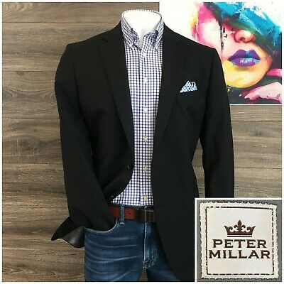Peter Millar Sport Coat Blazer Black Wool Two Button Jacket Mens Size 44T