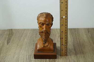 """Vintage Hand Carved Wood Statue Sculpture Of Don Quixote Bust 6 1/2"""" Tall"""