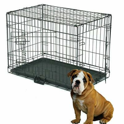 """2 Doors Black 30"""" Pet Folding Suitcase Dog Cat Crate Cage Kennel Pen w/ Tray"""