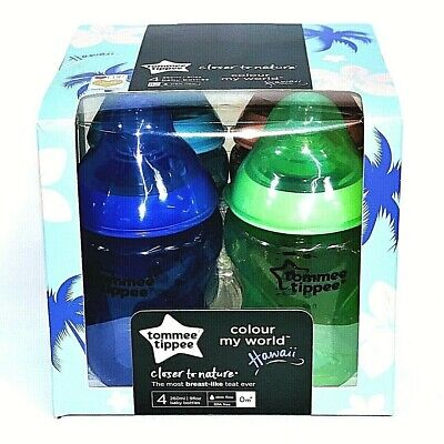 Tommee Tippee Hawaii Colours Baby Feeding Bottles Closer Nature Flow 260ml 0m+